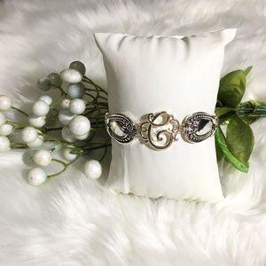 """Fancy Silver Monogram Cursive Letter """"C"""" Bracelet"""